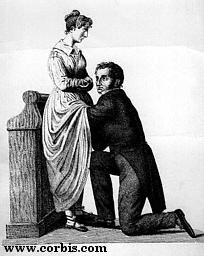A gynecologist lifts the skirts of his patient to conduct a medical examination, in 1830